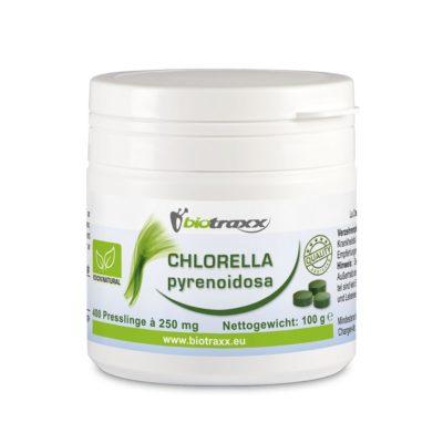 Biotraxx Chlorella pyrenoidosa 100g – 400 Tabletten, je 250 mg